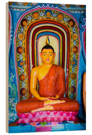 Quadro de madeira  Colourful Buddha statue at Isurumuniya Vihara, Anuradhapura, UNESCO World Heritage Site, Sri Lanka,A - Matthew Williams-Ellis