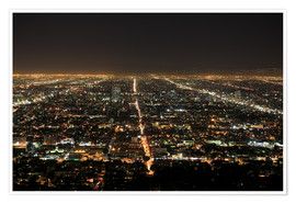 Póster Premium  Los Angeles at night - Wendy Connett