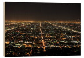 Quadro de madeira  Los Angeles at night - Wendy Connett