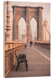 Quadro de madeira  Bank on the Brooklyn Bridge - Amanda Hall
