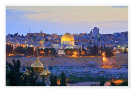 Póster Premium  Jerusalem with Dome of the Rock - Neil Farrin