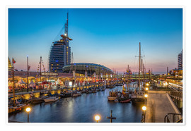 Póster Premium Sail 2015 Klimahaus - Havenwelten Bremerhaven at night
