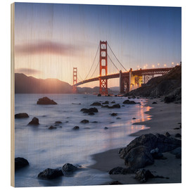 Quadro de madeira  San Francisco Golden Gate Bridge - Jan Christopher Becke