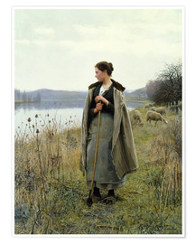 Póster Premium  The Shepherdess of Rolleboise - Daniel Ridgway Knight