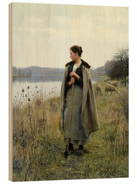 Quadro de madeira  The Shepherdess of Rolleboise - Daniel Ridgway Knight