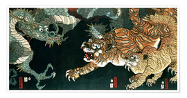 Póster Premium  A dragon and two tigers - Utagawa Sadahide