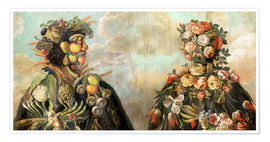 Póster Premium  A anthropomorphosic profile of a man and a woman - Giuseppe Arcimboldo