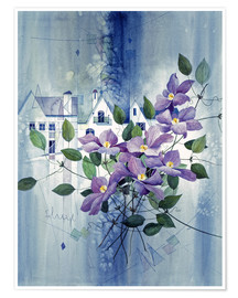 Póster Premium View with clematis