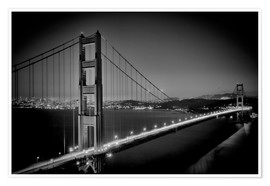 Póster Premium  Golden Gate Bridge in the Evening - Melanie Viola