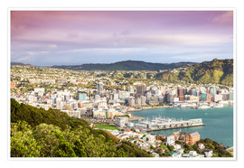 Póster Premium  Wellington in the morning, New Zealand - Matteo Colombo
