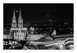 Póster Premium  Blutmond over the Cologne Cathedral - rclassen