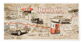 Póster Premium  As etapas da Route 66 - Georg Huber