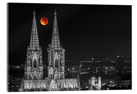 Quadro em acrílico  Blood Red Moon Cologne Cathedral - rclassen