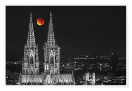 Póster Premium  Blood Red Moon Cologne Cathedral - rclassen