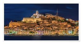 Póster Premium  Ibiza Spain castle by night - FineArt Panorama