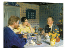 Quadro em acrílico  A luncheon. The artist, his wife and the writer Otto Benzon - Peder Severin Krøyer