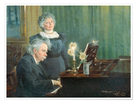 Póster Premium  Edvard Grieg accompanying his Wife - Peder Severin Krøyer