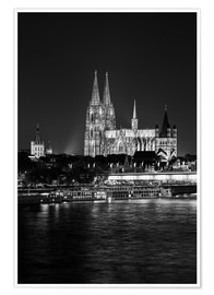 Póster Premium  Cologne Cathedral at night - rclassen
