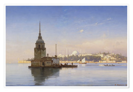 Póster Premium  The Maiden's Tower (Maiden Tower) with Istanbul in the background - Carl Neumann