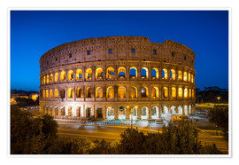 Póster Premium  Colosseum in Rome at night - Jan Christopher Becke