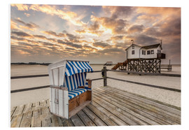 Quadro em PVC  In the morning the North Sea beach of Sankt Peter Ording - Dennis Stracke