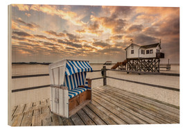 Quadro de madeira  In the morning the North Sea beach of Sankt Peter Ording - Dennis Stracke