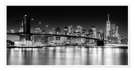 Póster Premium  New York City Skyline with Brooklyn Bridge (monochrome) - Sascha Kilmer