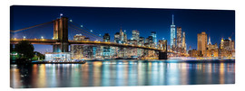 Quadro em tela  New York City Skyline with Brooklyn Bridge (panoramic view) - Sascha Kilmer
