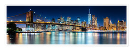 Póster Premium  New York City Skyline with Brooklyn Bridge (panoramic view) - Sascha Kilmer