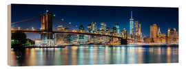 Quadro de madeira  New York City Skyline with Brooklyn Bridge (panoramic view) - Sascha Kilmer