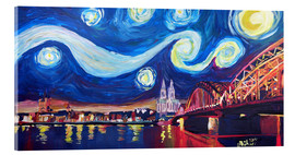Quadro em acrílico  Starry Night in Cologne - Van Gogh inspirations on Rhine with Cathedral and Hohenzollern Bridge - M. Bleichner