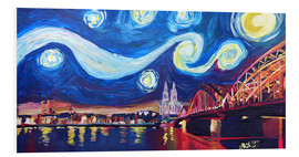 Quadro em PVC  Starry Night in Cologne - Van Gogh inspirations on Rhine with Cathedral and Hohenzollern Bridge - M. Bleichner