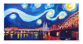 Póster Premium  Starry Night in Cologne - Van Gogh inspirations on Rhine with Cathedral and Hohenzollern Bridge - M. Bleichner