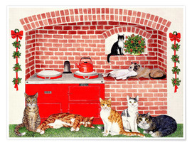Póster Premium Cats in the kitchen