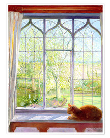 Póster Premium  Cat in window in spring - Timothy Easton