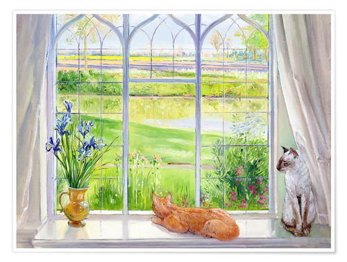 Póster Premium Cats at the window