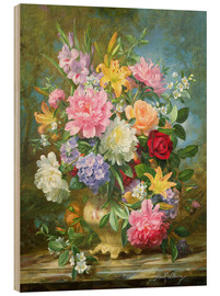Quadro de madeira  Peonies and mixed flowers - Albert Williams