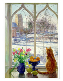 Póster Premium  Snow Shadows and Cat - Timothy Easton