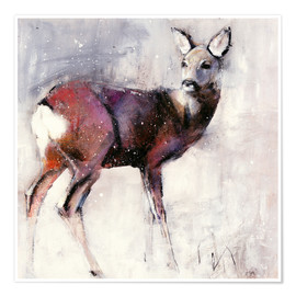 Póster Premium  Shy deer in the snow - Mark Adlington