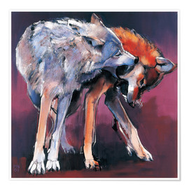 Póster Premium Two Wolves