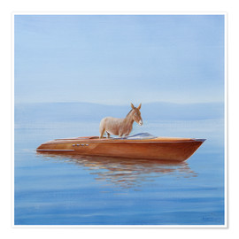 Póster Premium  Donkey in a boat - Lincoln Seligman