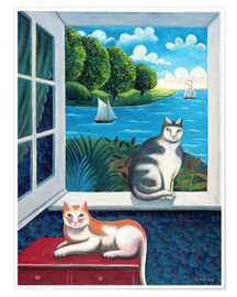 Póster Premium Cats and Sea