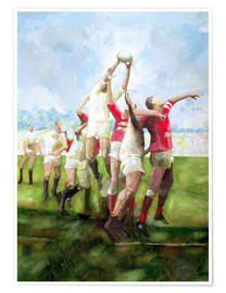 Póster Premium Rugby Match: Llanelli v Swansea, Line Out, 1992