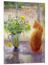 Quadro em PVC  Cat with flowers in the window - Timothy Easton