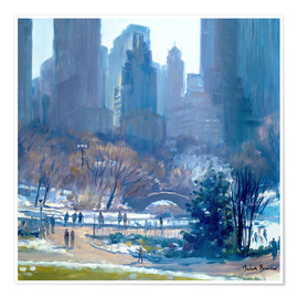 Póster Premium  Winter in Central Park, New York, 1997 - Julian Barrow