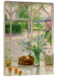 Quadro de madeira  Sleeping cat in the window - Timothy Easton