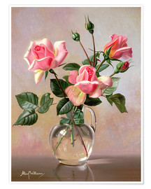 Póster Premium Pink Roses in a Glass Jug