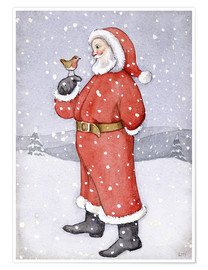 Póster Premium  Father Christmas and a Robin - Lavinia Hamer