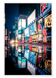 Póster Premium  Broadway, Times Square by night - Sascha Kilmer