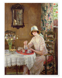 Póster Premium  Afternoon tea - William Henry Margetson